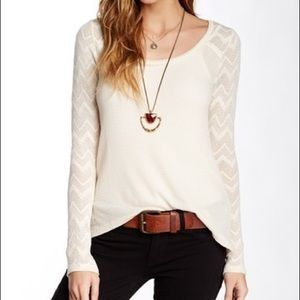 Lucky Brand Ginny Lace & Thermal Knit Tee Cream M